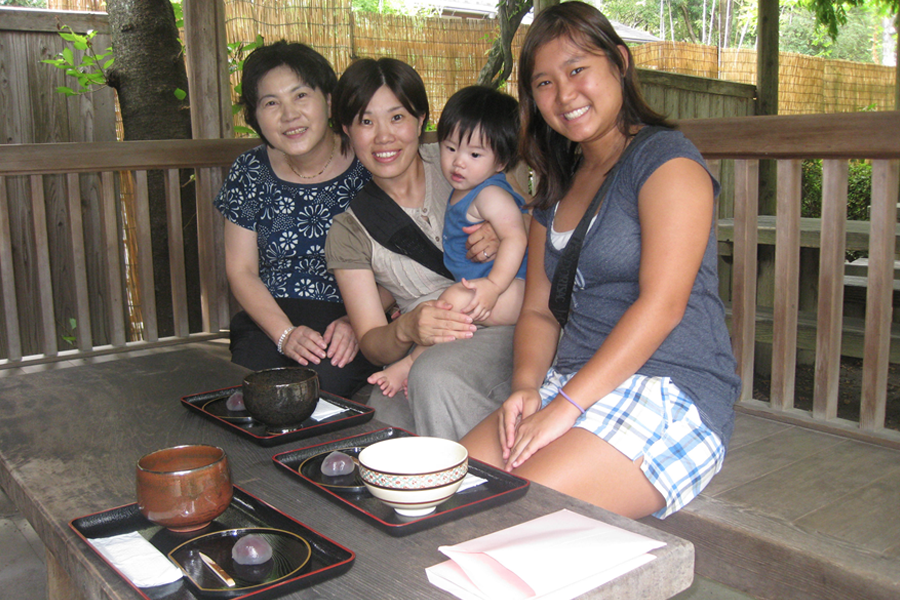 Kellie enjoyed experiencing a tea ceremony with Reiko-mama and her mother, Teruko Kawachika, along with Reiko's then-year-old son, Shogo.