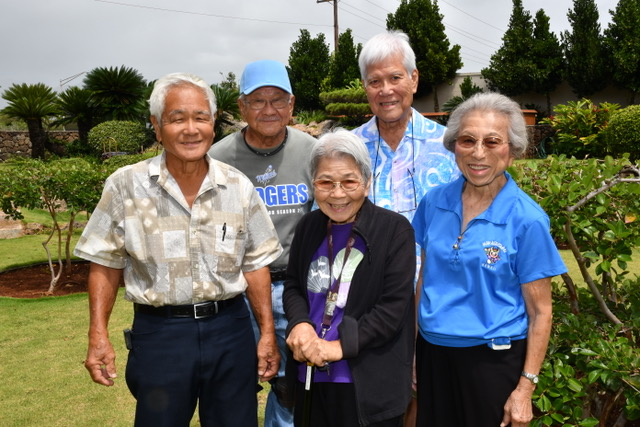 "These Nisei remembered their parents' encounters with the Okinawan POWs: (from left) Sadamitsu Higa, Larry Yogi, Fumie Oshiro, Seikichi ""Chick"" Takara and Clara Goto. (Photo by Gregg Kakesako)"