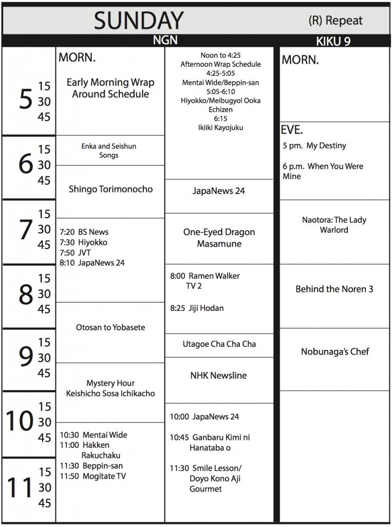 TV Program Schedule 6/16/17 Issue - Sunday
