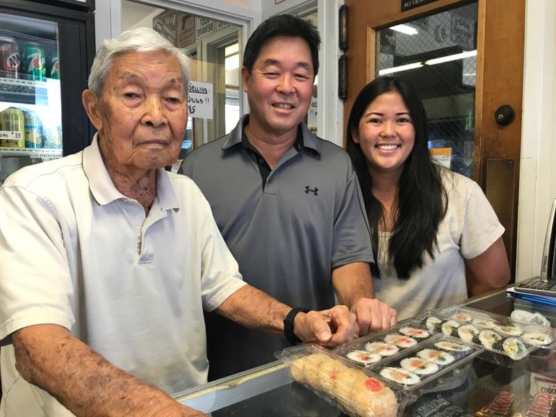 Three generations of the Kodama family: Douglas Kodama, his son Michael Kodama and Michael's daughter Cindy Watanabe in Miyako Sushi. (Photos by Melissa Tanji)