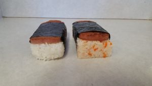 "Miyako Sushi produces a Spam musubi as well its original ""Spam musunari,"" which uses the rice of the inarizushi with a slice of Spam."