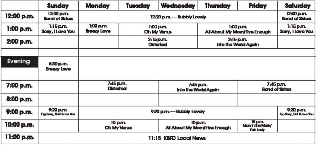 KBFD Program Schedule, Aug. 18. 2017 Issue