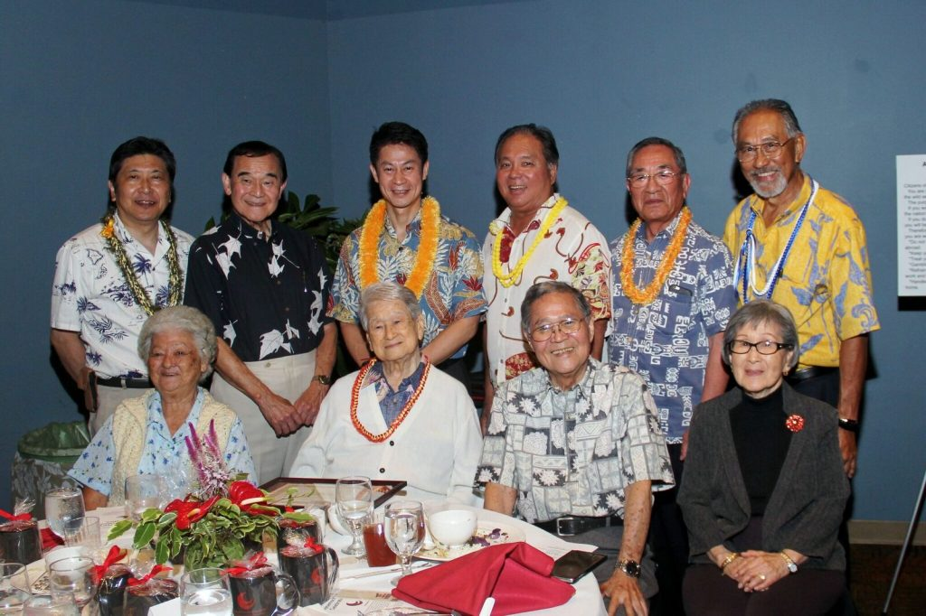 Group photo during a dinner celebrating East Hawaii Hiroshima Kenjinkai's 50th Anniversary - Seated, from left: Honorary Kenjinkai members Fumie Jyo, Harold Ashida, Larry Isemoto and Michiko Tomosada. (Photos courtesy East Hawaii Hiroshima Kenjinkai)