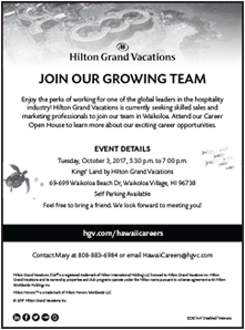 Ad for Hilton Grand Vacations