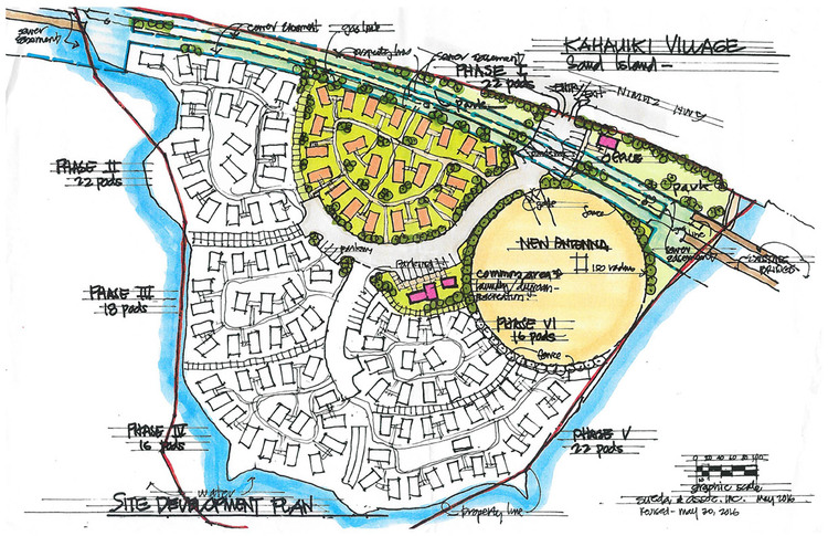 Kahauiki Village — the vision. Phase One, currently under construction, is the area colored in green. (Courtesy kahauiki.org)