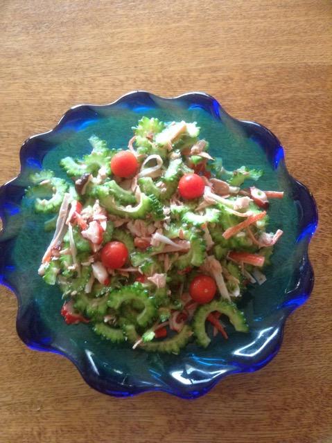Colorful vegetable salad in beautiful Ryukyuan glass platter?!