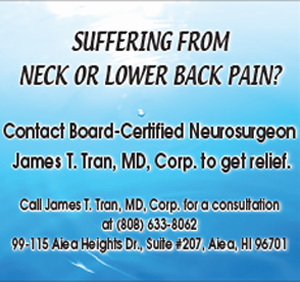 Ad for James T. Tran, MD, specializing in relieving neck and lower back pain
