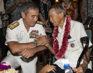 Photo of Admiral Harry Harris Jr., head of the US Pacific Command and 442nd veteran, Masayoshi Nakamura, who was recently awarded France's Legion of Honor