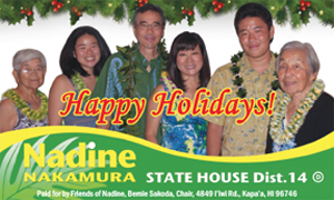 Ad for State House, Distr. 14, Nadine Nakamura
