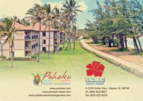 Ad for Pono Kai Resort, Pohaku Property Management