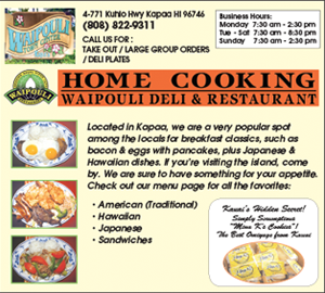 Ad for Waipouli Deli & Restaurant