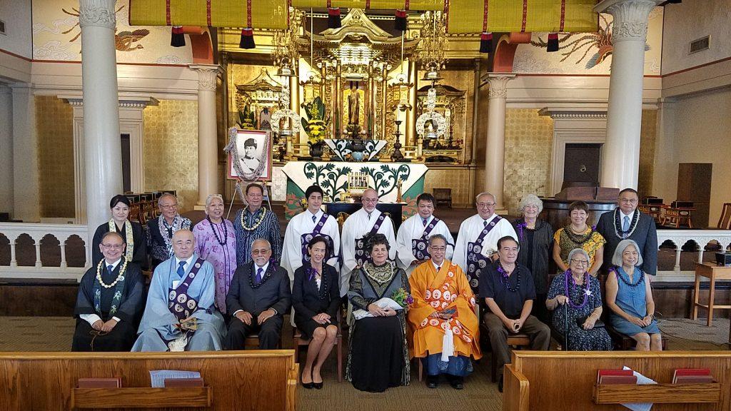 Group photo in the Honpa Hongwanji celebrating Queen Liliuokalani's 1901 visit to the Hongwanji Temple