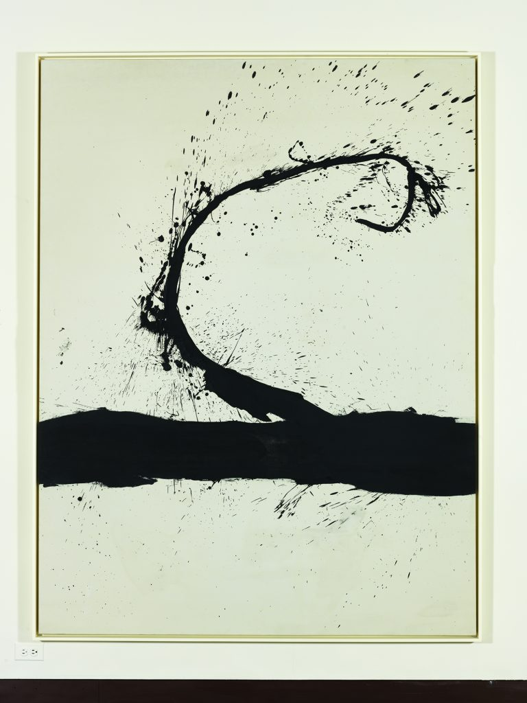 """Untitled,"" (1963) oil on canvas by Robert Motherwell (American, 1915-1991). Honolulu Museum of Art, Gift of The Contemporary Museum, Honolulu, 2011, and purchased with funds given by Persis Corporation and gift of the Dedalus Foundation (TCM.1997.1). Art © Dedalus Foundation/Licensed by VAGA, New York, NY."